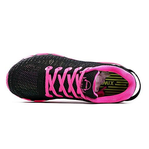 Onemix Homme Femme Réflexions colorées Air Chaussures de Running Entrainement Rose