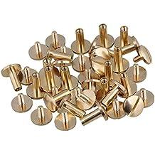 Zijia - Lote de remaches macizos de latón para cinturones, carteras o manualidades (10x 4x 10mm), color amarillo. 20 unidades.