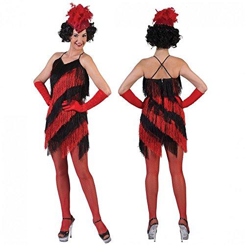 Kostüm Funny Günstige - Funny Fashion Charleston Kostüm Poppy Gr. 36- 46 Kleid Rot-Schwarz Karneval (44/46)