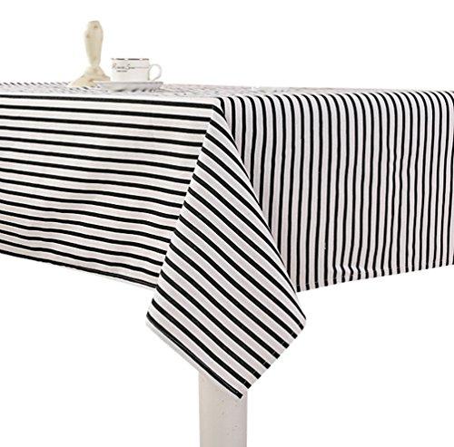 chdecke Simpel Gartentischdecke Pflegeleicht Tischtuch Tischwäsche für Couchtisch, Esstisch (Schwarz #Gestreift, 90*150cm) (Schwarz-weiß Gestreiftes Tischtuch)