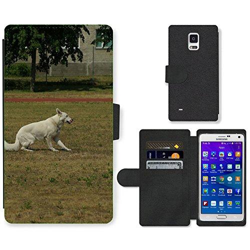 hello-mobile PU LEDER LEATHER FLIP CASE COVER HÜLLE ETUI TASCHE SCHALE // M00137643 Weisser Schweizer Schäferhund Gehorsam // Samsung Galaxy Note 4 IV