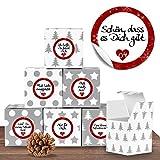 """24 weihnachtliche Adventswürfel im Set mit 24 Zahlenaufklebern """"Liebevolle Botschaften"""" für einen DIY Adventskalender zum Basteln und Befüllen"""