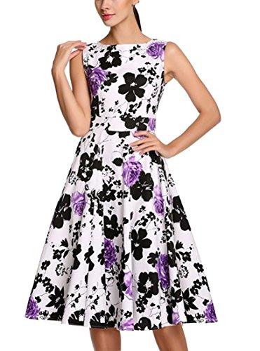 REPHYLLIS Femme Vintage 1950's Audrey Hepburn robe de soirée cocktail années 50 Rockabilly Swing Pourpre