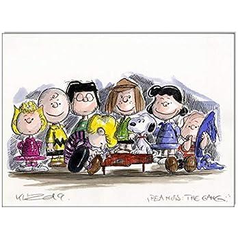 Original Feder und Aquarell auf Aquarellkarton: Peanuts The Gang III/ 24×32 cm
