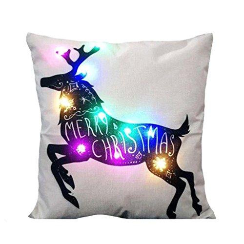 Weihnachten LED beleuchtet Flachs Kissen Stillshine einzigartige Home Decoration Sofa Kissen Kissen ,Frohe Weihnachten Hirsch und Flamingo (Xmas E)