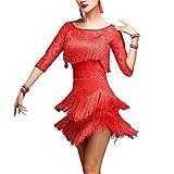 YOUMU Damen Tanzschuhe, Salsa, ChaCha (Tango, mit Quasten, Spitze, Kostüm, Rumba, Damen, 904-A095-L-RE, rot, L(EU S) Waist:72-80 cm/28.3-31.5