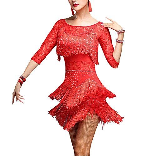 he, Salsa, Chacha (Tango, mit Quasten, Spitze, Kostüm, Rumba, Damen, 904-A095-M-RE, Rot, M(EU XS) Waist:62-74 cm/24.4-29.1