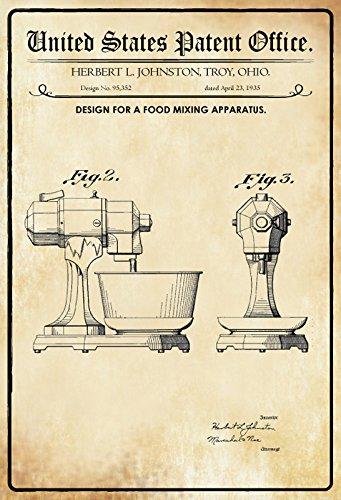 Von Ohio Geschichte (US Patent - Design for A Food mixing Apparatus - Entwurf für ein Lebensmittelmischapparat - Johnston, Ohio, 1935 - Urkunde No 95.352 - Schild aus blech, tin sign, geschichte)
