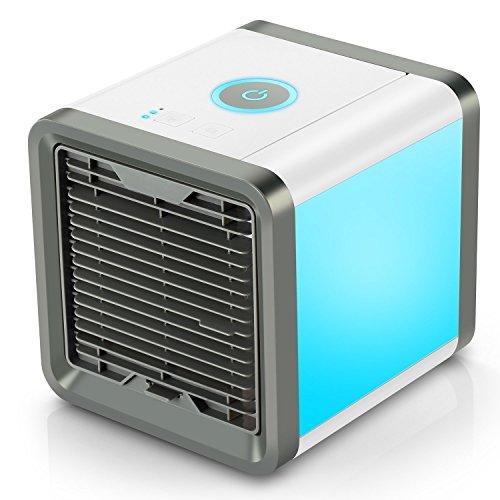 Enfriador de escritorio mini portátil Air Cool, 3 en 1 Ventilador de aire de espacio personal, humidificador y purificador, Ventilador de escritorio de aire acondicionado con 3 velocidades y 7 colores LED Luz de noche