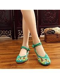 GuiXinWeiHeng xiuhuaxie (new)-Gestickte Schuhe, Leinen, Sehnensohle, ethnischer Stil, erh?hte weibliche Schuhe, Mode, bequem, l?ssig, black, 38