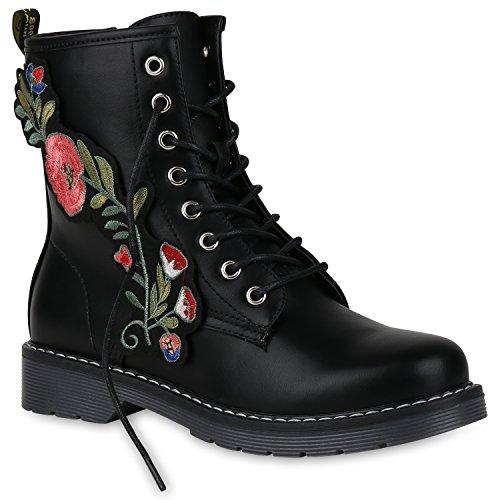 Damen Stiefeletten Worker Boots Stickereien Gefütterte Stiefel Schuhe 149850 Schwarz Stickereien 36 Flandell