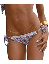 cintura cadena - SODIAL(R)doble capa asimetria cintura cadena bikini cuerpo cadena