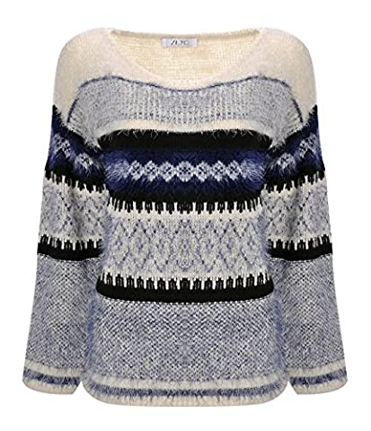 ZLYC Women's Soft Fluffy Aztec Space Dye Knitted Pullover Jumper Geometric Casual Sweater (Blue)