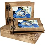 Elegante grueso 50hojas Madera álbum y libro de invitados en cofre de madera