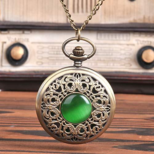 SJXIN Coole Taschenuhren, Kreative Taschenuhr Grüne Katzenauge Große Taschenuhr Geschnitzte Durchbrochene Smaragd-Taschenuhr 8063 (Color : 1)
