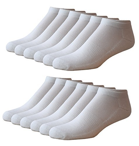 Zeke Men's Athletic Low-Cut Socks - 12 Pack - 144 Needle Thread Count - Micro Terry Cushion Sole - Arch Support - White -