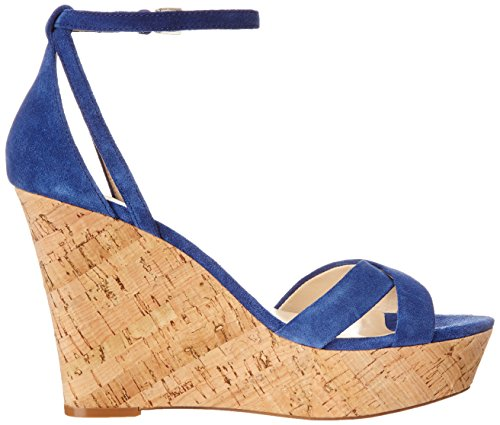 Nine West Joker Sandales compensées en daim Dark Blue
