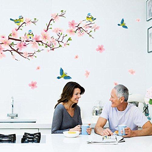 sunnymi Wandsticker Wandtattoo Pfirsichblüte Schmetterling Home Dekoration Aufkleber Wohnzimmer Zuhause Dekoration Wandaufkleber Hintergrund für Schlafzimmer (A, Rosa)
