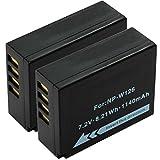 Cellonic 2X Akku kompatibel mit Fuji X-T2 X-T20 X-T10 X-T1 Fuji X-Pro2 X-Pro1 Fuji X-A3 X-A2 X-A10 X-A1 X-E2 -E2s X100f Fuji FinePix HS30EXR HS50EXR HS33EXR Fuji X-M1, NP-W126 Ersatzakku Batterie