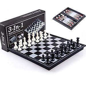 YBWEN-Chess Internationales Schachspiel Magnetisches Reiseschachspiel for Erwachsene und Kinder Klappschachbrett…