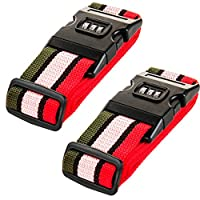 Amazing Tour 2 Pack Luggage Security Strap Suitcase Packing Belts with Password Lock Clip, Four color Rainbow Stripe