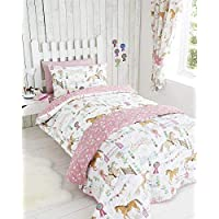 Horses Animals Girls Single Quilt Duvet Cover & Pillowcase Bedding Bed Set New