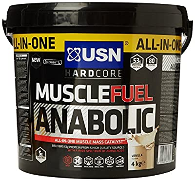 USN Muscle Fuel Anabolic 4 kg,Powerful All-In-One Shake,Supports Muscle Performance,Supports Muscle Recovery and Growth (Vanilla) by USN