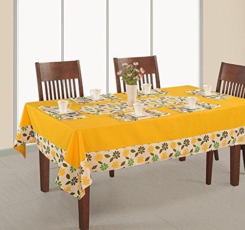 Shalinindia gelb bedruckt und massiver Ente Baumwolle Tisch, 6-Sitzer quadratisch 152,4x 228,6cm, baumwolle, gelb, 88 x 52 Inch (Vinyl Tischdecke Quadratisch 52x52)