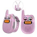 Walkie-talkie per bambini ricaricabili con radio FM, 2 miglia di distanza, occhi LED scintillanti, orologi indossabili Walkies-talkie Giocattoli per bambini Bicicletta, Escursionismo, Campeggio, Corsa
