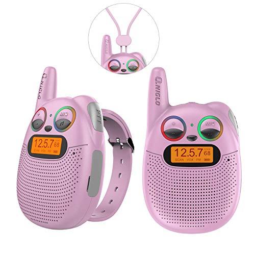 Wiederaufladbare Kinder-Walkie-Talkies mit FM-Radio, PMR, 2-Meilen-Reichweite, funkelnden LED-Augen, tragbarer Uhr, Walkies-Talkies-Spielzeug für Kinder, Radfahren, Wandern, Camping, Laufen (Rosa)