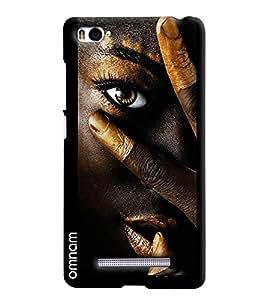 Omnam Girl In Black Face With Golden Effect Printed Designer Back Cover Case For Xiaomi Mi4i