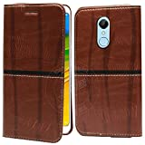 #10: Jkobi® WoodFeel Leather Wallet Flip Case Cover For Xiaomi Redmi Note 5 -Leather Brown