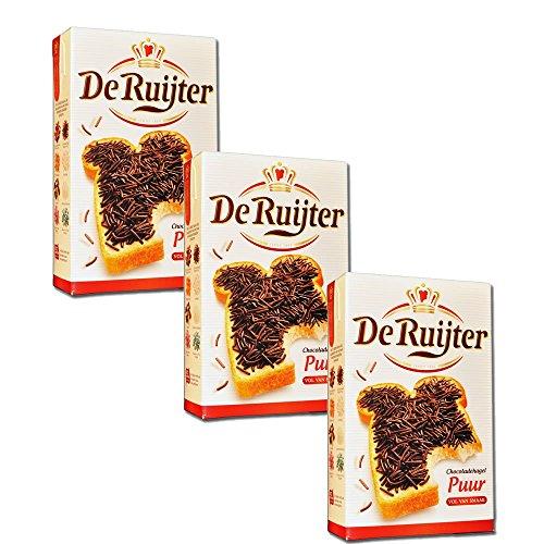 3 x De Ruijter Chocoladehagel Puur - Zartbitter Schokoladenstreusel - 400g