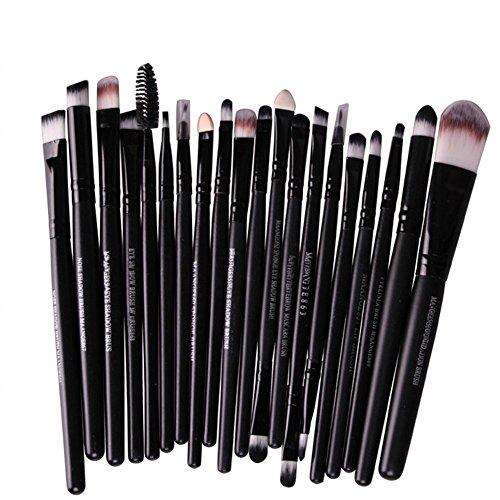 Hosaire 20-teiliges-Set Make-up-Pinsel / Kosmetik-Pinsel für Eyeliner Lippen-Foundation Puder Highlighting Concealer Lidschatten schwarz