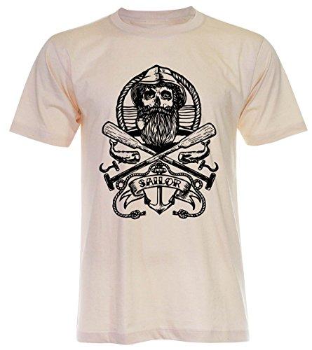 PALLAS Unisex's Old Sailor Vintage T Shirt Light Beige
