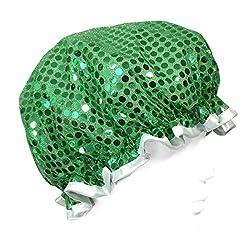 Wrapables Trendy Satin Shower Cap, Green Glitter