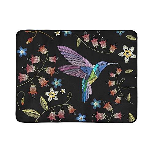 KAOROU Broderie Fleurs Humming Birds Tapis De Couverture Portable Et Pliable 60x78 Pouce Pratique Tapis pour Camping Pique-Nique Plage Intérieur en Plein Air Voyage