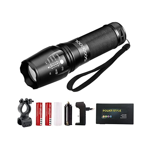 Lampe de poche tactique T6 - Haute lumière, Zoomable, 5 modes, Résistant à l'eau, Lumière de poche - Meilleur camping, extérieur, urgence, lampes de poche quotidiennes (noir SET)