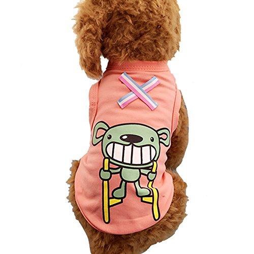 Lazzykit Vêtements en Coton Pour Chien Chiot Été Accessoire Vêtement Gilet T shirt Imprimé Mignon Respirant