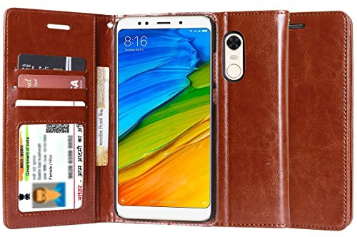 For Mi Redmi Note 5 - Unistuff® Impact Resistant Wallet Folio Flip Cover with [1 Cash/Bills slot][1 ID Card Slot][2 Debit/Credit Card slot] for Mi Redmi Note 5 (Executive Brown, Artificial Leather, 360* Protection)