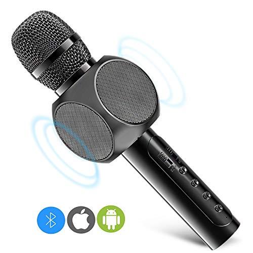 Micrófono Inalámbrico Karaoke Bluetooth 3.0, 2 Altavoces Incorporados, Batería de 2200mAh, 3.5mm AUX, Compatible con PC/iPad/iPhone/Smartphone, Color Negro