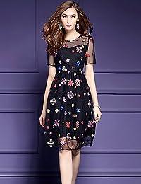 DESY Fodero Vestito da Donna-per Uscire Taglie Forti Moda Città Ricamato  Rotonda al Ginocchio a699ba87922