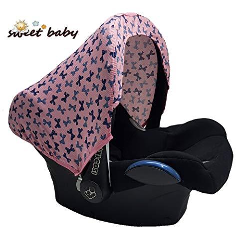 Imagen para Little Sweetz Style UV Hoody - Capota universal para Maxi Cosi Cabrio/CabrioFix/Pebble/Citi, Römer y otros portabebés grupo 0+ (protección solar/capota) rosa Lazos.