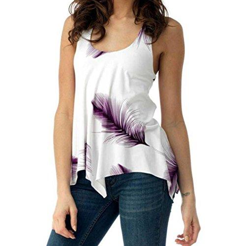 Plus Size Weste Shirt Print Tops Frauen Damen ärmellose Bluse Verband Tank Pullover GreatestPAK,Lila,XL Plus Size Pullover-westen