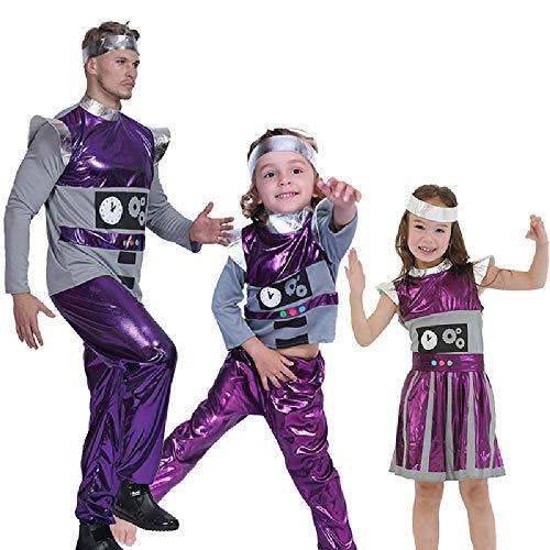 Machen Santa Girl Kostüm - DXYQT Cosplay Anime Kostüm Leistung Kostüm Lila Alien Set Halloween Familie Roboter COS Kleidung Kostüm,Girl-S