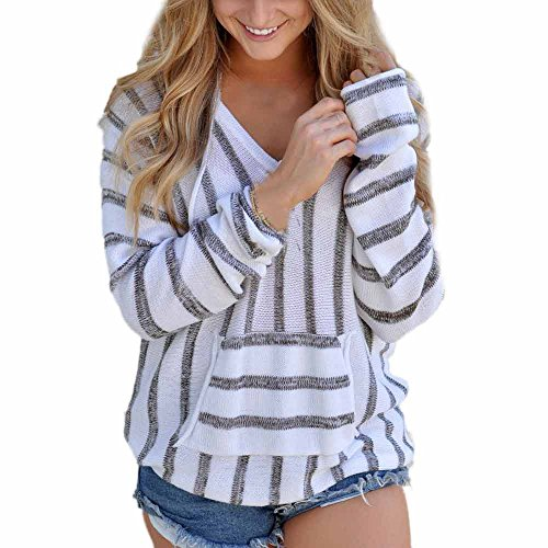 Preisvergleich Produktbild VENMO Damen Strickpullover Rundhals Stricken Pullover Strick Strickpullis Winterpullover Strickwaren Pullis Bat Ärmel Lose Sweater Stripe Loose Tops Langarm Pullover Casual Strickwaren (L, Gray)