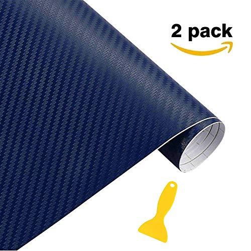 Stickers Pellicola (2 pezzi), Minleer 3D Carbonio Adesiva Foglio, Rivestimento adesivo 3D di vinile in fibra di carbonio per auto, impermeabile, anti bolle (152 x 30 cm) Blu