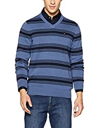 Tommy Hilfiger Mens Cotton Sweater (8907504310982_P5BMS101M_Fleet Blue and Navy - Pt)