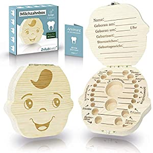 Original Zrilubkrelz® Zahnbox Zahndose für Kinder aus Holz | inkl. Brief | Deutsche Sprache | 2 Versionen für Junge…