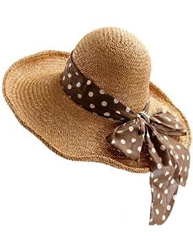 Grass Hat playa sombrero para el sol Sombrero Paja grandes aleros sunscreen quitasol dama verano,caqui